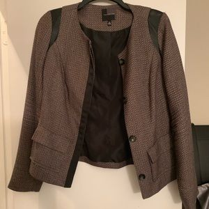 The Limited Tweed and Leather Blazer